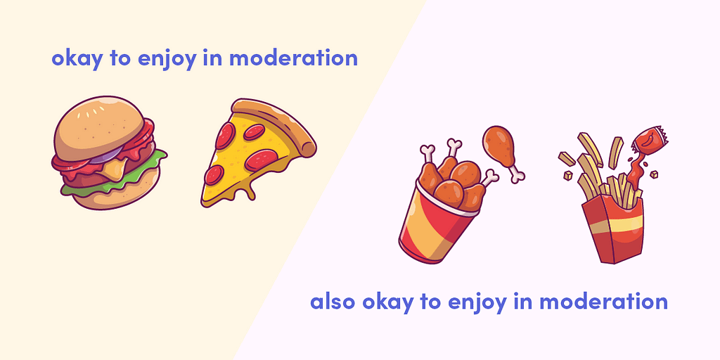 Calorie dense foods such as pizza and fried chicken can still be enjoyed in moderation during your weight loss.